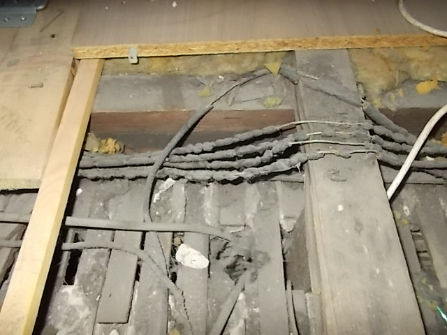 Old electrics and ceiling laths